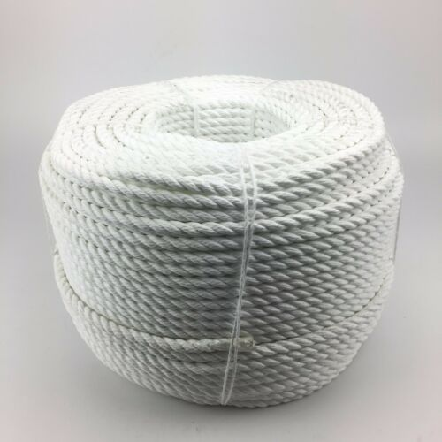 3 Strand White Multifilament 14mm Floating Rope x 220m Coil Boats Yachts