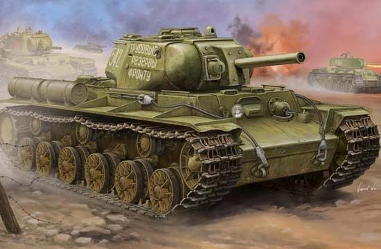 01572 1  35 skala sovjetisk KV -8S Tung Tank Armor Fordonsmodelllllerl trumpetare