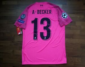 huge discount 8f7a9 ed8d4 Details about Authentic Liverpool 2018-19 Goalkeeper UCL Alisson Original  Nameset Jersey Small