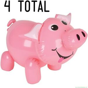 (4) Inflatable Pig Blow Up ~ Cute Piggie Piggy Party Decoration Inflate Favors