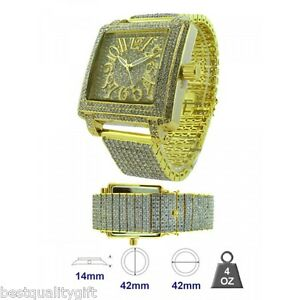 ICE-MASTER-SQUARE-GOLD-PAVE-CRYSTALS-BEZEL-DIAL-AND-BAND-BLING-GLITZ-MEN-WATCH