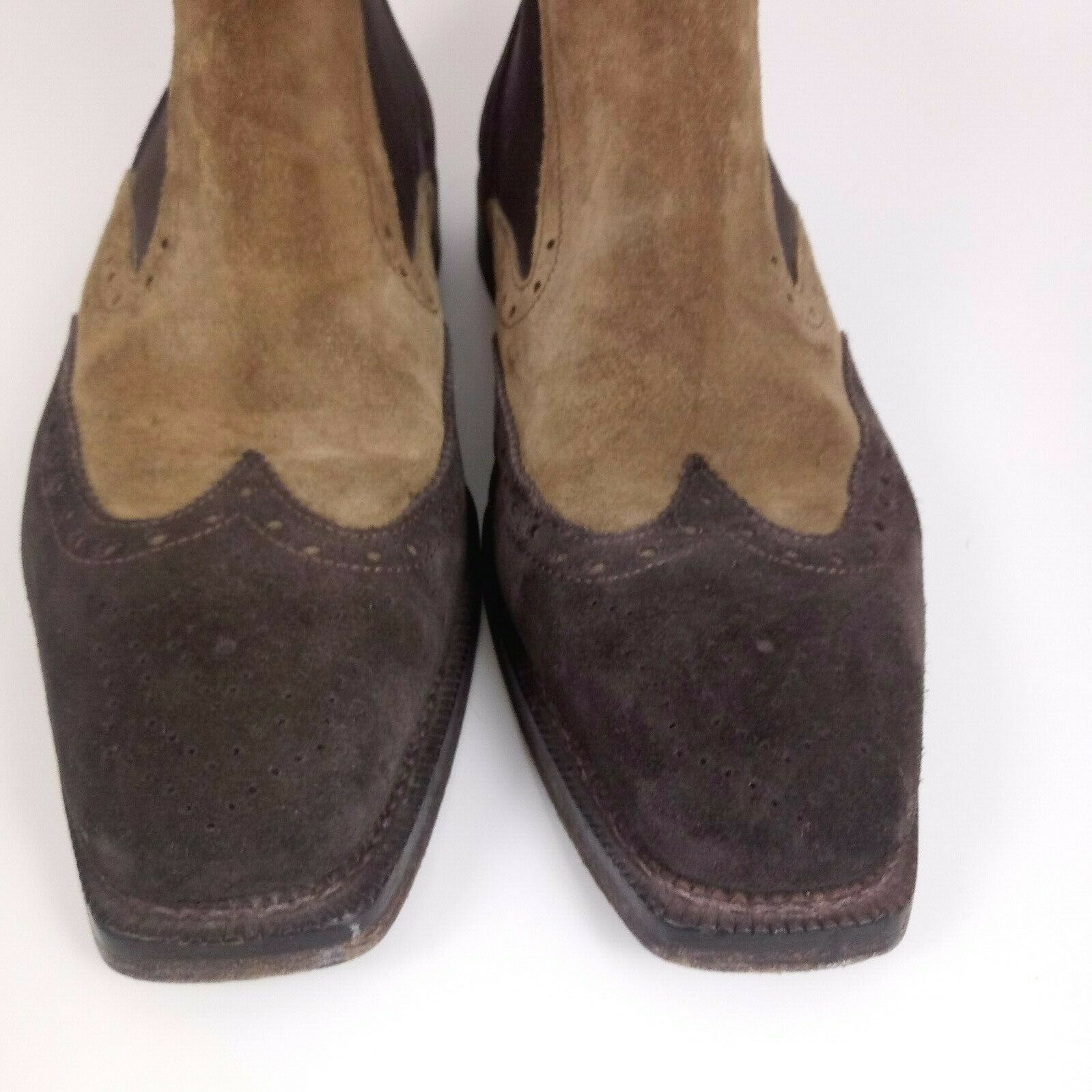 Cuoieria Men 43 Wing Tip Chelsea Boots Brown Tan … - image 3