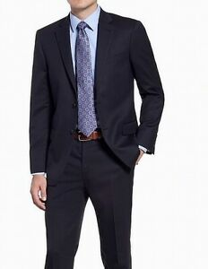 Hart Schaffner Marx Mens Suit Navy Blue Size 42 Wool Blazer Jacket $400 #326
