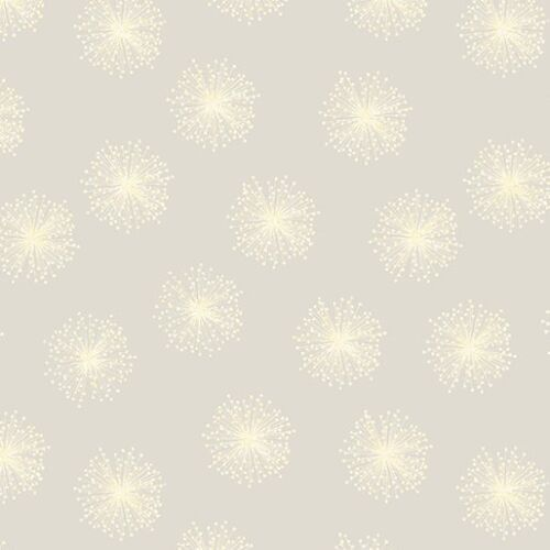 Half Metre length Dandelion Fields White on White Print Fabric 8462p-07