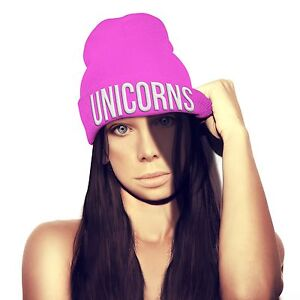online store dcdaf a90d5 Image is loading UNICORNS-Beanie-Hat-Womens-Queen-Pink-Girls-Dope-