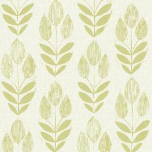 Contemporary-Modern-Lime-Green-Leaves-on-Linen-Paste-the-Wall-Wallpaper-FD20649