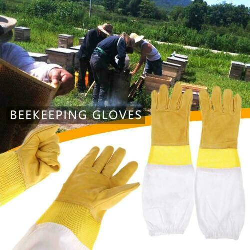 Beekeeping Gloves Keeping Sleeves Suit Bee Goat Skin Net Keeper Long Vented A9X0