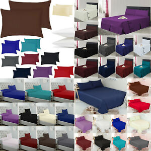 Uni-Drap-Housse-Drap-plat-cantonniere-drap-et-taies-d-039-oreiller-toutes-tailles