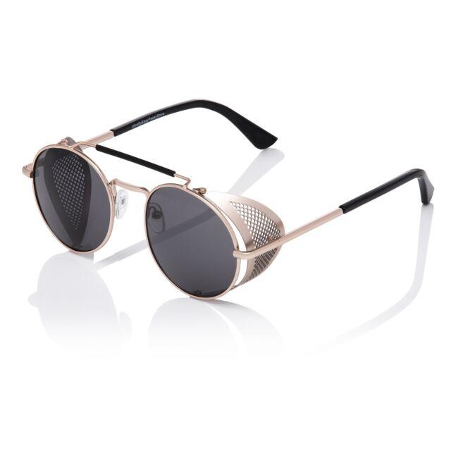 84f15cc1d134 Gold + Black Steampunk Glasses Cyber Round Retro Goggles Blinders Sunglasses  UK