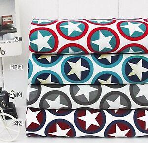 Love-star-100-Cotton-Fabric-BY-THE-YARD-Trendy-Stars-grey-navy-green-JC1-61