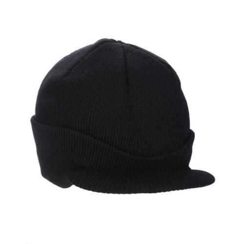 Unisex Mens Women Peaked Beanie With Peak Knitted Army Hat Winter Warm Ski Cap