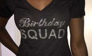 Image Is Loading Birthday Squad Rhinestone Shirt Womens T