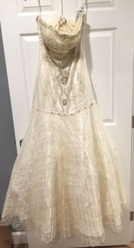 Hot Sue verfraaid kant geplooid jurk Strapless trouwjurk kralen met rok Wong 8Pn0Okw