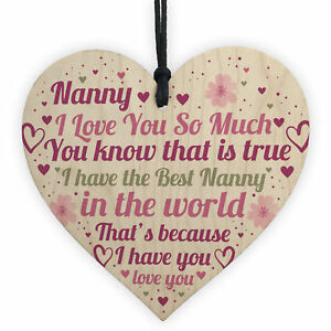 Nanny Gifts Mothers Day Gift For Her Wooden Heart Nanny Birthday Gift Keepsake