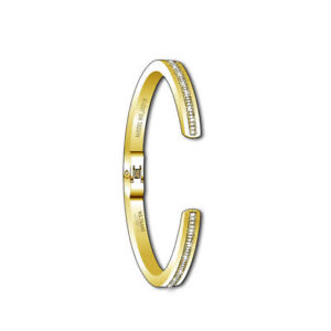 Invicta-Women-039-s-Cuff-Bracelet-Gold-Tone-Stainless-Steel-Crystal-Hinged-J0318