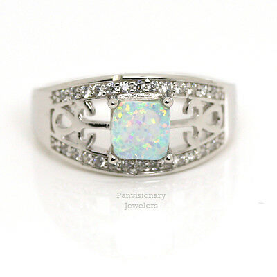 White Lab Opal Ring 925 Sterling Silver 6 x 6mm w Cubic Zirconia CZ 1/2 sizes