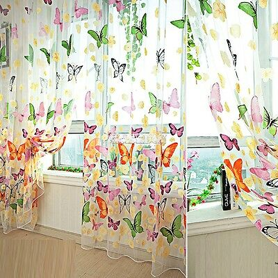 New Door Window Curtain Room Divider Strip Tassel Butterfly Pattern Vogue EA