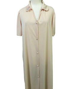 Vintage Vanity Fair Peach Pink Housecoat Robe Small Button Front Pockets Floral