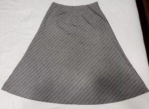 Eddie-Bauer-Midi-Plaid-A-Line-Skirt-Womens-Diagonal-Striped-Gray-Size-4-Petite