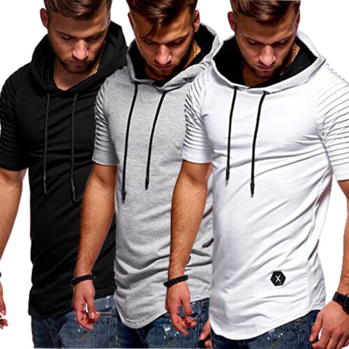 New Mens Summer Short Sleeve Hoodie Casual Longline Tee Light Gym Lounge T-Shirt