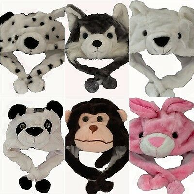 Childrens Kids Faux Fur  Animal Head Long Trapper Hat with Mitts Scarf Snood