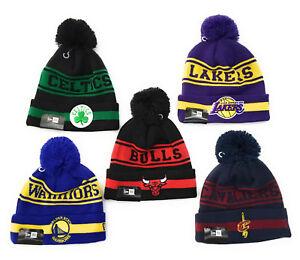 NEW-ERA-berretto-NBA-di-maglia-con-risvolto-e-pompon-cappellino-invernale-basket