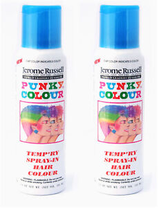 Jerome-Russell-Punky-Color-Temp-039-ry-Spray-In-Hair-Colour-SKY-BLUE-TWO-PACK-NEW