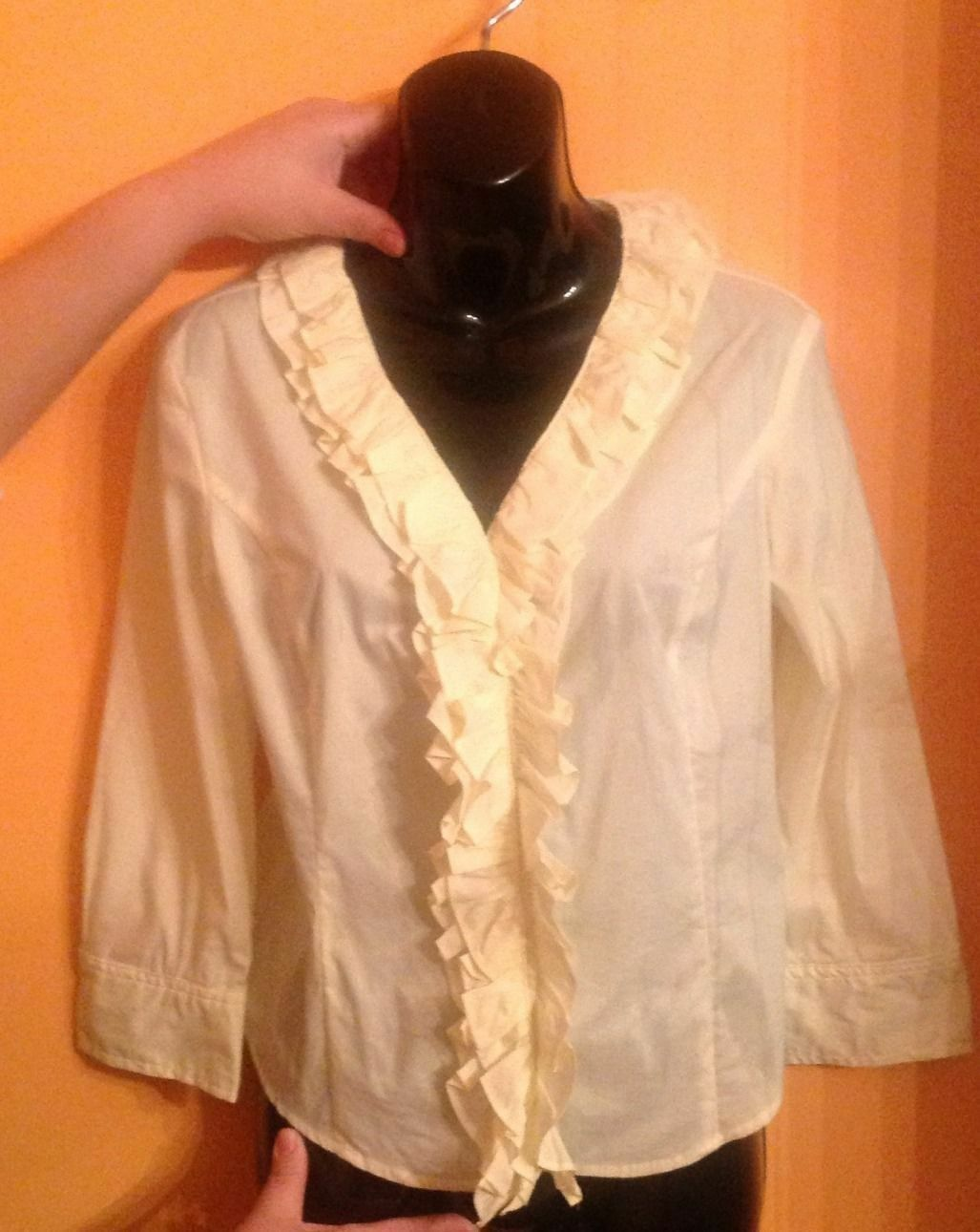 EUC Max Mara Weekend Cotton Blend Gelb Ruffled Detail Blouse SZ M