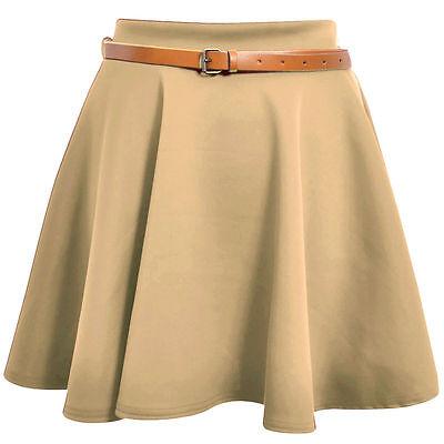 Womens Skirt Ladies Belted Flared Plain Mini Skater Skirt Party Skirt Sizes 8-14