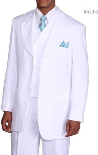 Herren 3-tlg. Mode Vested Anzug Creme Ton in Ton Streifen Milano Moda 29197v     Charmantes Design    Zahlreiche In Vielfalt    Economy