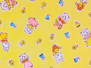 RPFMD298-Rabbits-Bunny-Cats-Kitty-Retro-Feedback-30-039-s-Style-Cotton-Quilt-Fabric