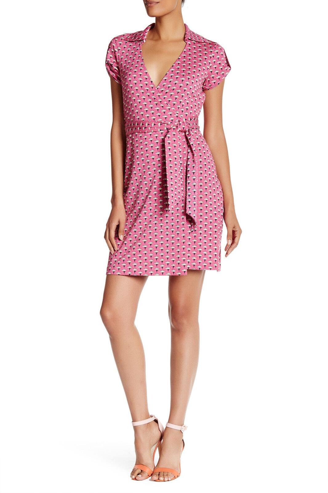 SZ 14 Diane Diane Diane von Furstenberg DVF Jilda Two Peace Palm Pink Collar Wrap Dress NWT c1da9c