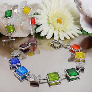 BILDSCHONE-Halskette-aus-Glas-Quadraten-Silberfolie-in-Rahmen-Multicolor