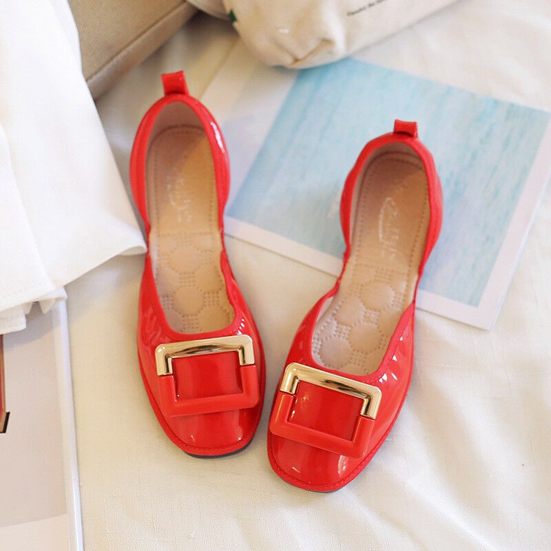 Ballet flats loafers women's shoes comfortable red soft like leather 9806
