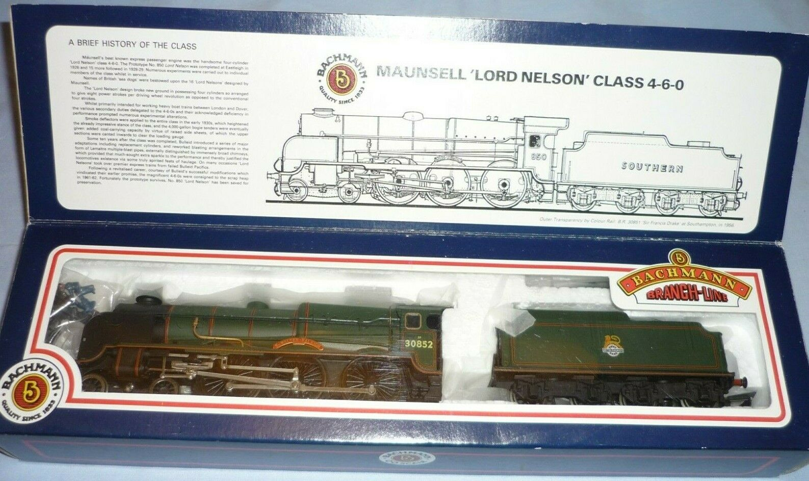 BACHMANN OO GAUGE LORD NELSON CLASS 4-6-0 TENDER LOCO 30852 SIR WALTER RALEIGH