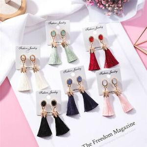 New-Women-Fashion-Rhinestone-Long-Tassel-Dangle-Earrings-Fringe-Drop-Earrings