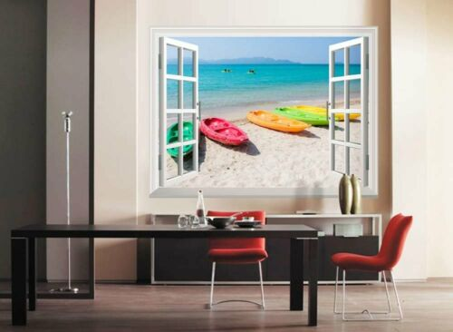 Colorful Boats on the Beach with White Sand Wall Mural 36x48 Window View