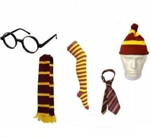 New-Boy-HP-Yellow-Striped-Griffindor-FancyDress-Scarf-Tie-Socks-Hat-Glasses-Wand