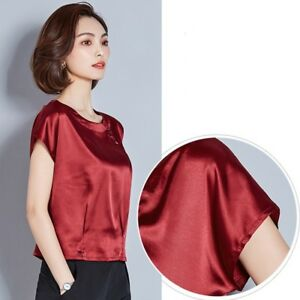 Lady-Satin-Silk-Shirt-Blouse-Summer-Tops-Short-Sleeve-Round-Neck-Casual-Slim-Tee