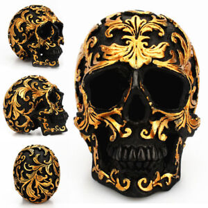 Halloween Decorative Bronze Color Aztec Skull Skeleton Figurine Resin Statue