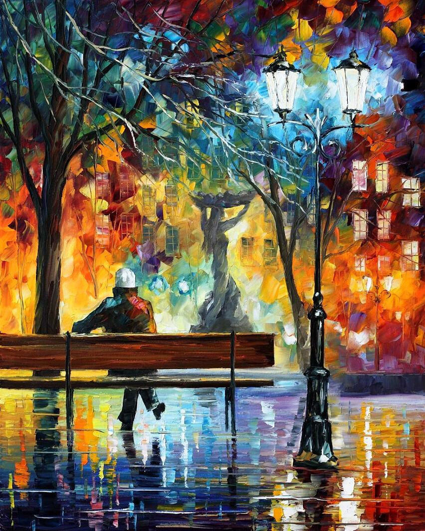 "Sleeplessness  —  Oil Painting On Canvas By Leonid Afremov. Size: 24""x30 Wallart 1"