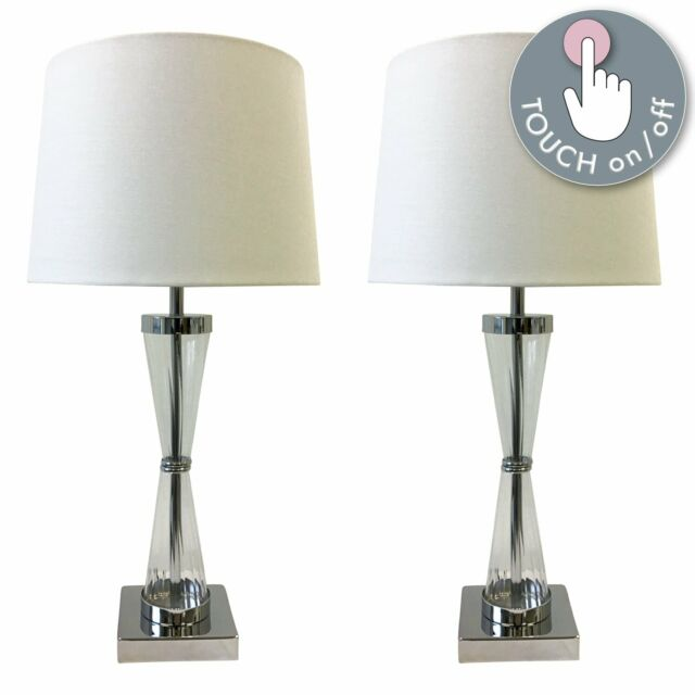 Pair of Touch Control Bedside Lights Table Lamps Modern Chrome White Shade