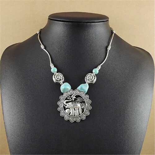 Vintage Jewelry Tibetan Silver Plated Animal Turquoise Women Pendant Necklace