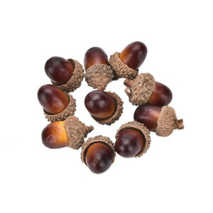 10x-Decorative-Fake-Fruits-Artificial-Mini-Acorn-Oak-Nut-Ornaments-Home-FO