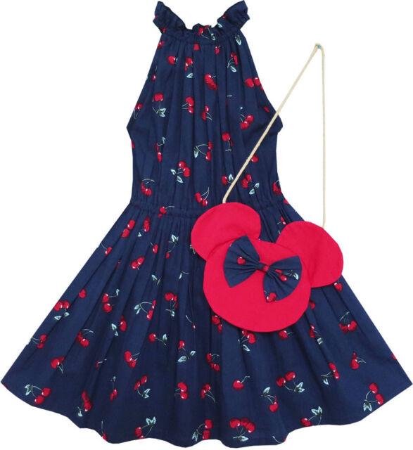 Sunny Fashion Girls Dress Cherry Fruit Print Cotton With Cute Handbag Blue 4-8