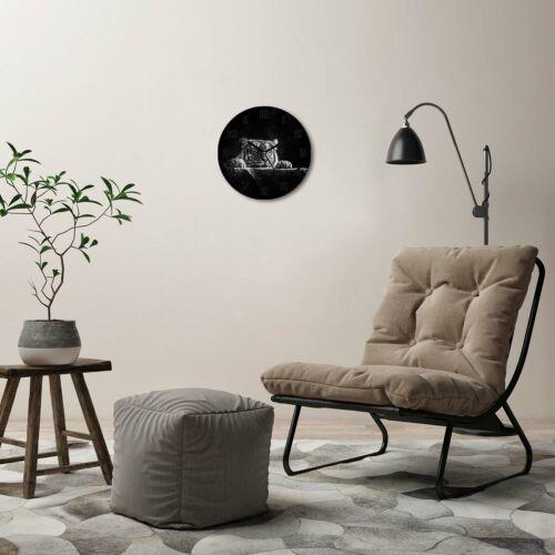 Wanduhr runde Echt-Glas-Küchenuhr 30 Deko Bild-Motiv Tiger Schwarzweiß