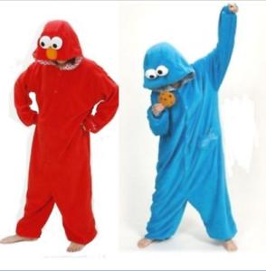 Sesamstrasse-Kruemelmonster-Elmo-Cosplay-Kostuem-Tier-Karneval-Jumpsuit-Nachtwaesche
