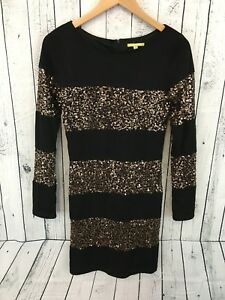 07f33198159de NWT Gianni Bini Sz Small Black Rose Gold Sequin Long Sleeve Dress S2 ...