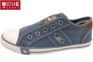 Details zu MUSTANG Damen Sneaker Himmelblau Halbschuhe Canvas Slipper 1099 401 807 Blau