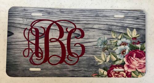 Monogram License Plate Flower Car Tag New Rustic Wooden Flower Monogram Car Tag